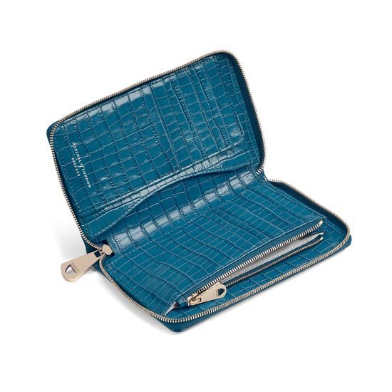 Midi Continental Clutch Zip Wallet in Deep Shine Topaz Small Croc from Aspinal of London