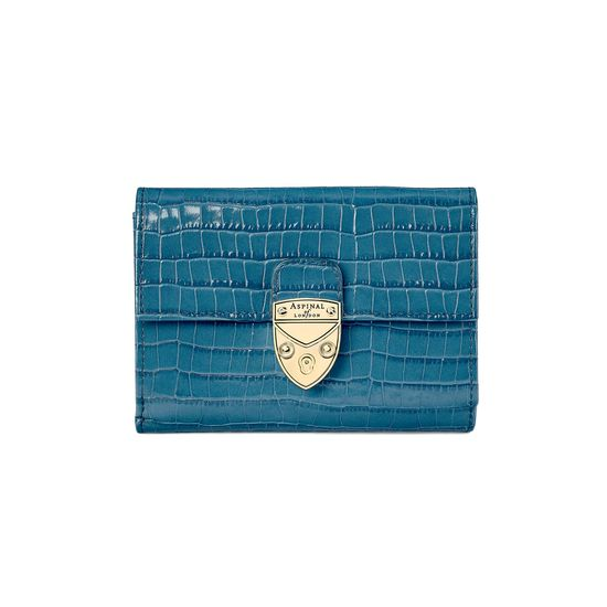 Small Mayfair Purse in Deep Shine Topaz Small Croc from Aspinal of London