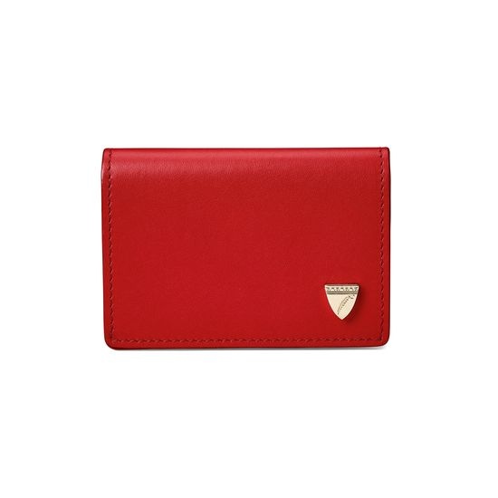 Accordion Zipped Credit Card Holder in Smooth Scarlet from Aspinal of London