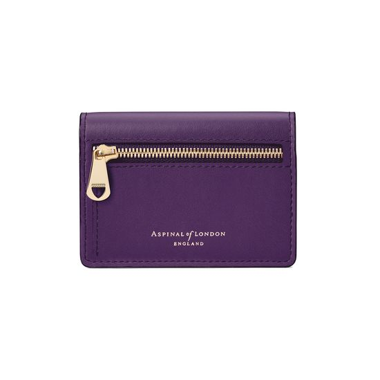 Accordion Zipped Credit Card Holder in Smooth Amethyst from Aspinal of London