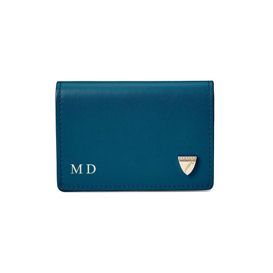 Accordion Zipped Credit Card Holder in Smooth Topaz from Aspinal of London
