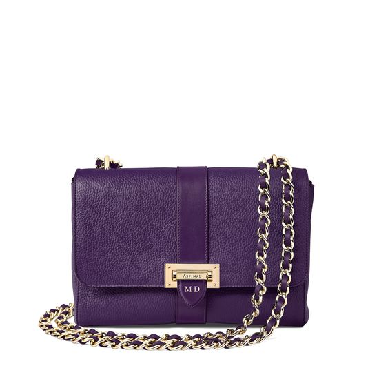 Large Lottie Bag in Amethyst Pebble from Aspinal of London