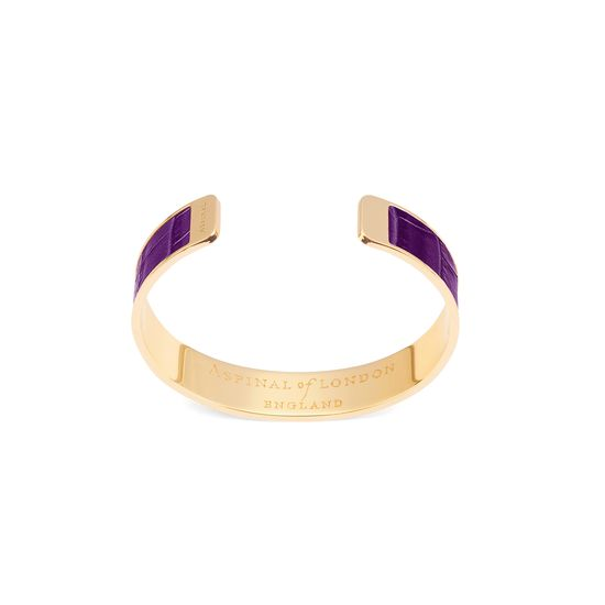 Cleopatra Skinny Cuff Bracelet in Deep Shine Amethyst Small Croc from Aspinal of London