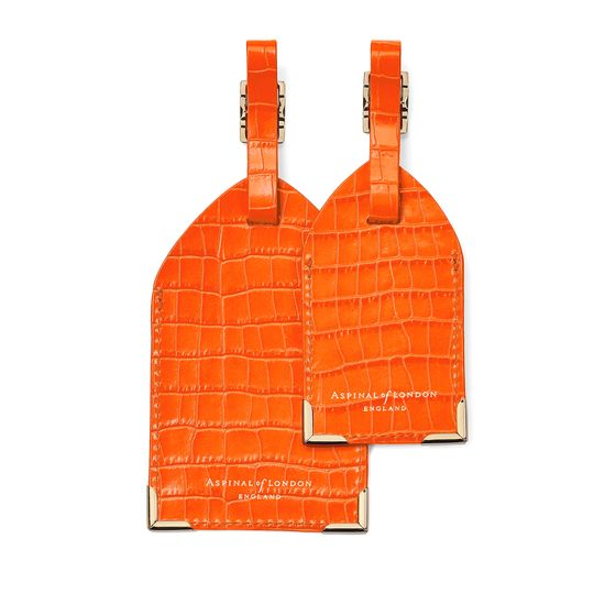 Set of 2 Luggage Tags in Deep Shine Amber Small Croc from Aspinal of London