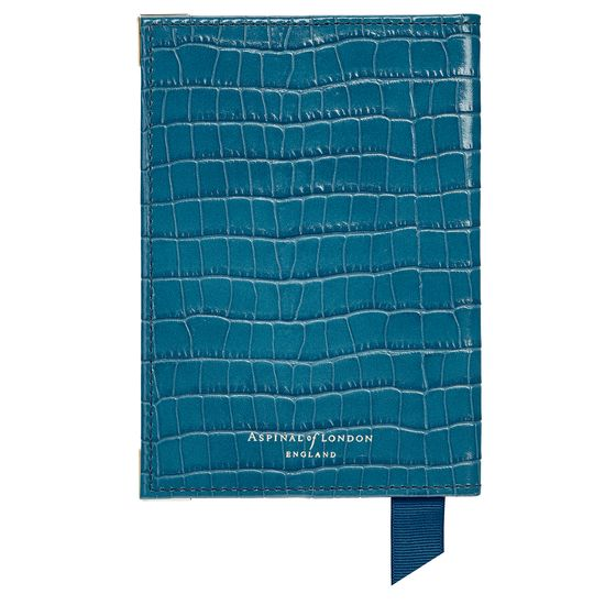 Passport Cover in Deep Shine Topaz Small Croc from Aspinal of London