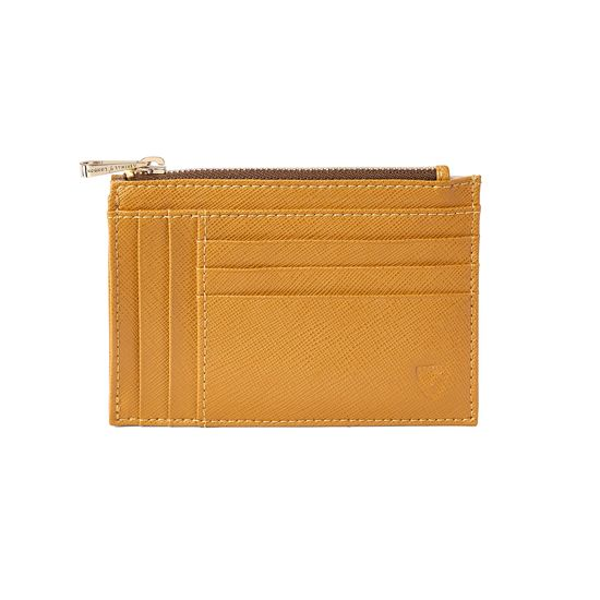 Double Sided Zipped Card & Coin Holder in Mustard Saffiano from Aspinal of London