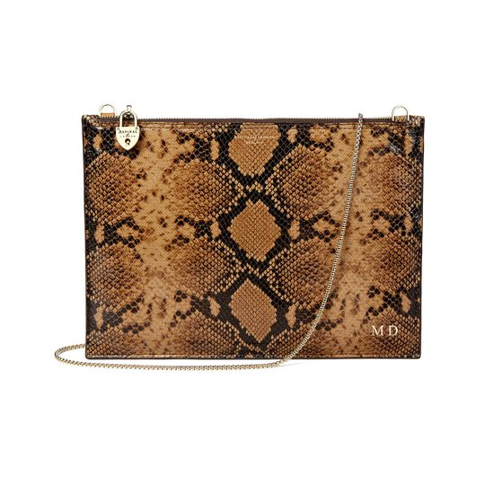 Soho Clutch in Mustard Python Print from Aspinal of London