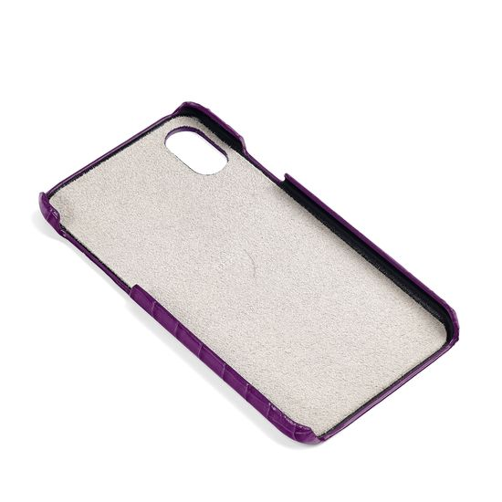 iPhone X Leather Cover in Deep Shine Amethyst Small Croc from Aspinal of London
