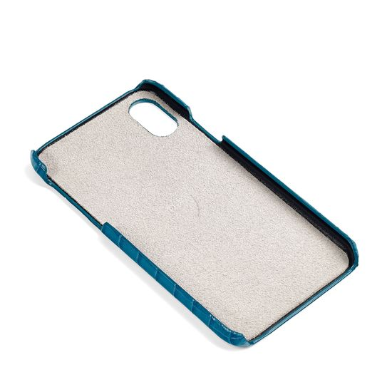 iPhone X Leather Cover in Deep Shine Topaz Small Croc from Aspinal of London