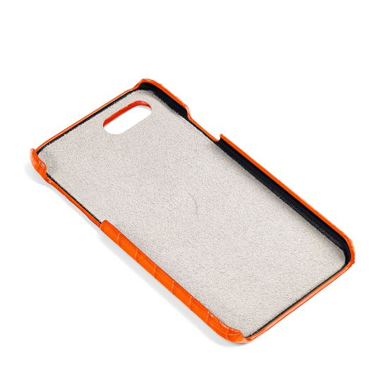 iPhone 7/8 Leather Cover in Deep Shine Amber Small Croc from Aspinal of London