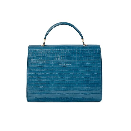 Mayfair Bag in Deep Shine Topaz Small Croc from Aspinal of London