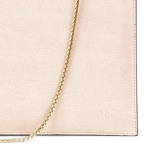 Soho Double Sided Clutch in Monochrome Saffiano & Smooth Black from Aspinal of London