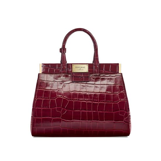 a86dfcc54537 ... Small Florence Snap Bag in Deep Shine Bordeaux Croc from Aspinal of  London ...