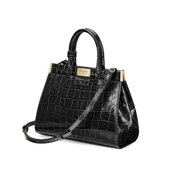 Small Florence Snap Bag in Deep Shine Black Croc from Aspinal of London
