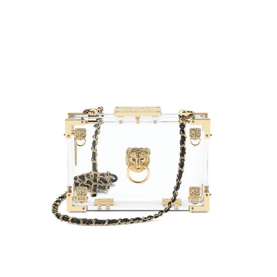 Lion Box Clutch in Transparent Acrylic from Aspinal of London