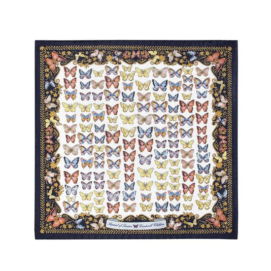 Aspinal x Caudwell Children (Butterflies Silk Pocket Square in Navy) from Aspinal of London