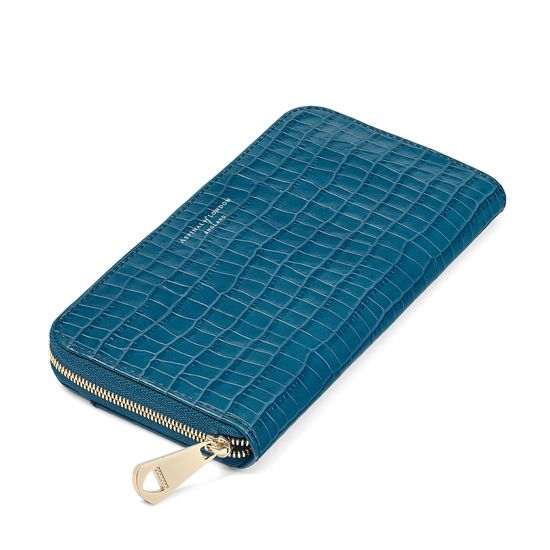 Continental Clutch Zip Wallet in Deep Shine Topaz Small Croc from Aspinal of London