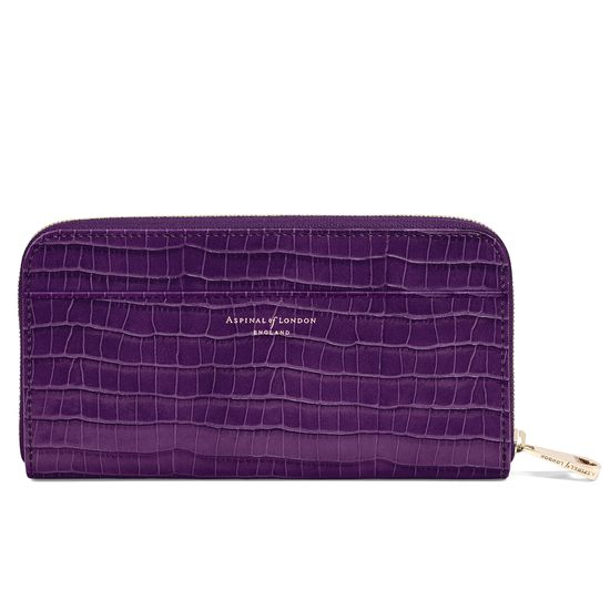 Continental Clutch Zip Wallet in Deep Shine Amethyst Small Croc from Aspinal of London