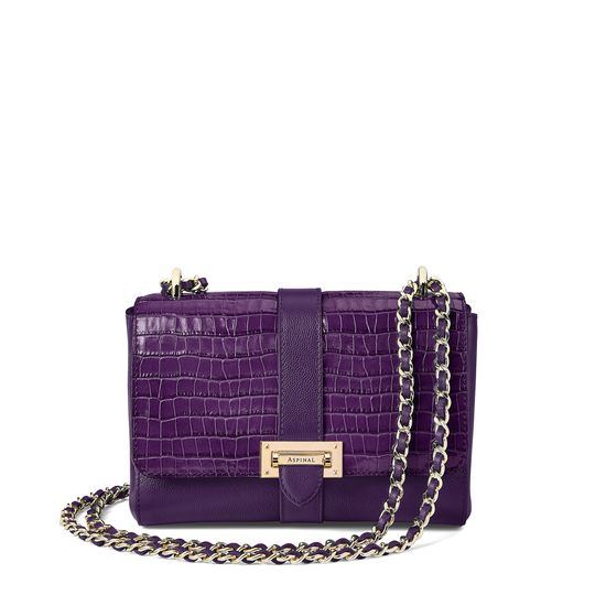 Small Lottie Bag in Deep Shine Amethyst Small Croc from Aspinal of London