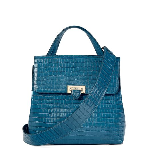 Soho Backpack in Deep Shine Topaz Small Croc from Aspinal of London