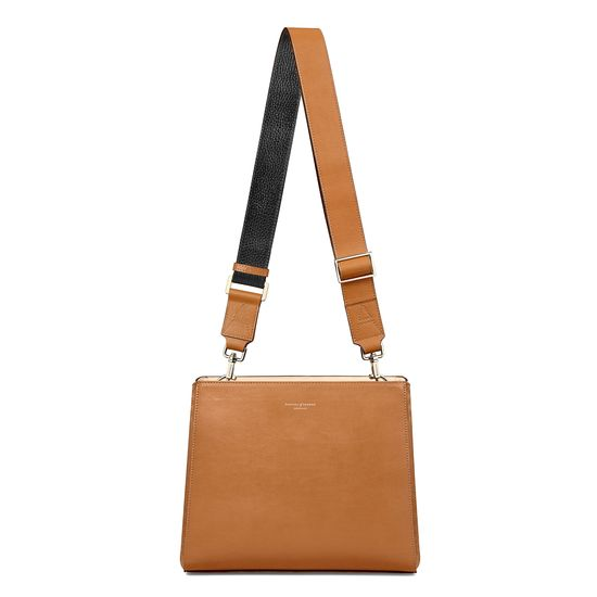 Small Ella Hobo in Smooth Tan with Black & Tan Strap from Aspinal of London