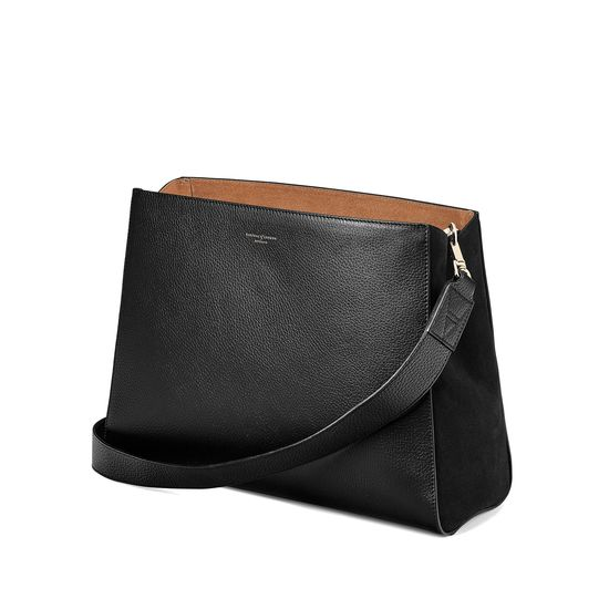 Large Ella Hobo in Black Pebble with Black & Tan Strap from Aspinal of London