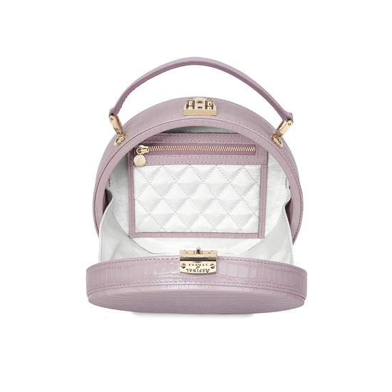 Mini Hat Box Bag in Deep Shine Lilac Small Croc from Aspinal of London