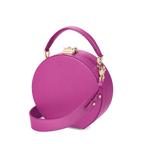Mini Hat Box Bag in Orchid Saffiano from Aspinal of London