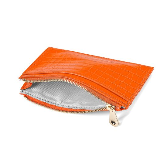 Double Sided Zipped Card & Coin Holder in Deep Shine Amber Small Croc from Aspinal of London