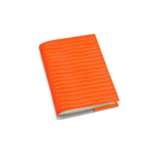 Refillable Pocket Notebook in Deep Shine Amber Small Croc from Aspinal of London