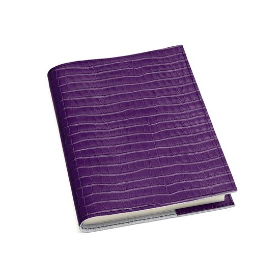 A5 Refillable Leather Journal in Deep Shine Amethyst Small Croc from Aspinal of London