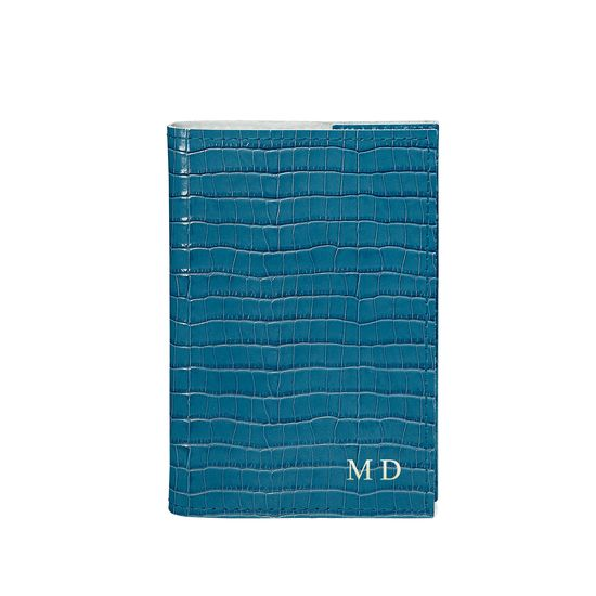 Refillable Pocket Notebook in Deep Shine Topaz Small Croc from Aspinal of London