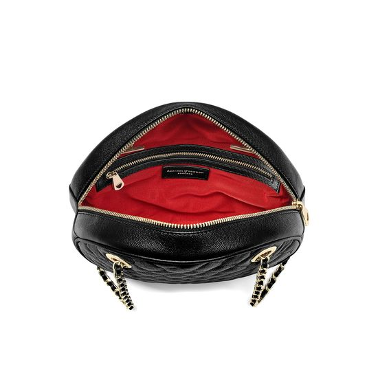 Jackie 'O' Bag in Black Quilted Kaviar from Aspinal of London
