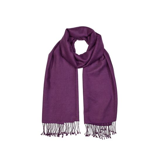 Essential Silk & Cashmere Pashmina in Amethyst from Aspinal of London