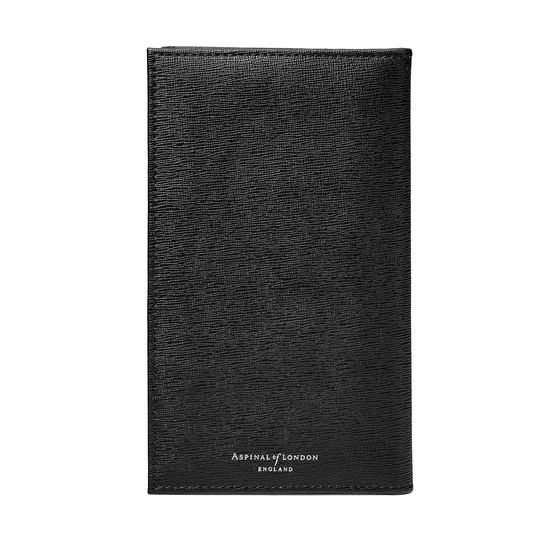 Large Breast Pocket Wallet in Black Saffiano from Aspinal of London