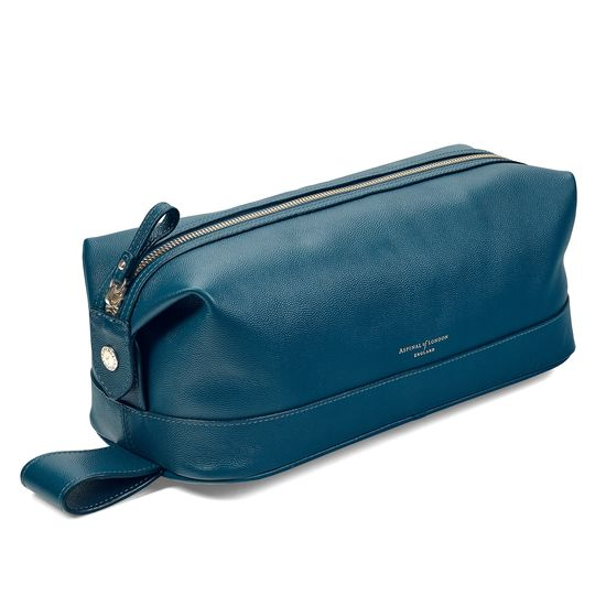 Mens Leather Washbag in Peacock Kaviar from Aspinal of London