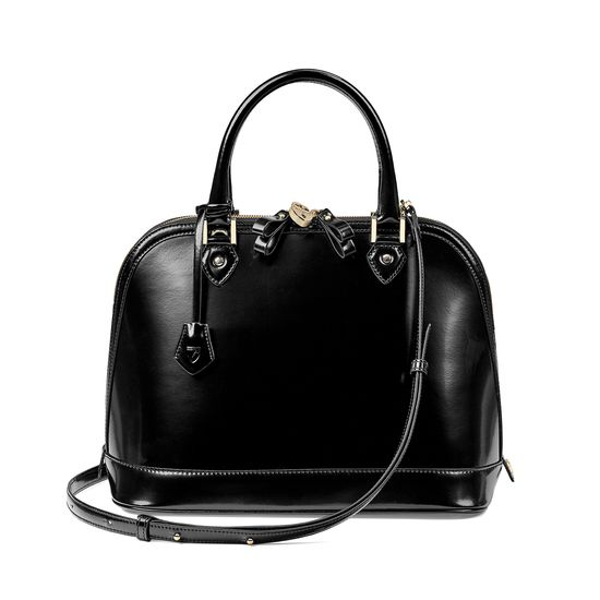 Hepburn Bag in Black Polish from Aspinal of London