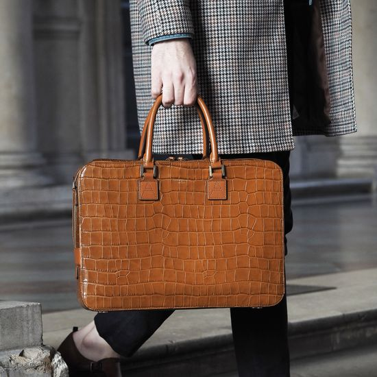 Small Mount Street Bag in Deep Shine Vintage Tan Croc from Aspinal of London