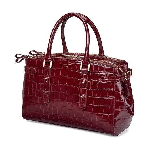Brook Street Bag in Deep Shine Bordeaux Croc from Aspinal of London