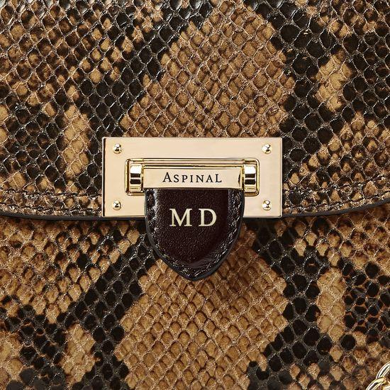 Portobello Bag in Mustard Python Print from Aspinal of London