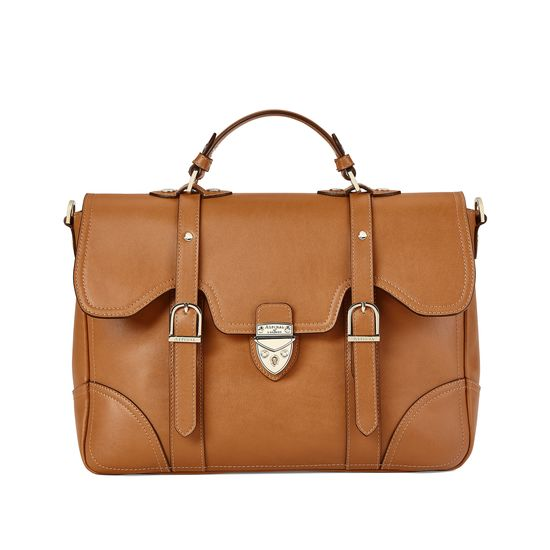 Large Country Mollie Satchel in Smooth Tan from Aspinal of London