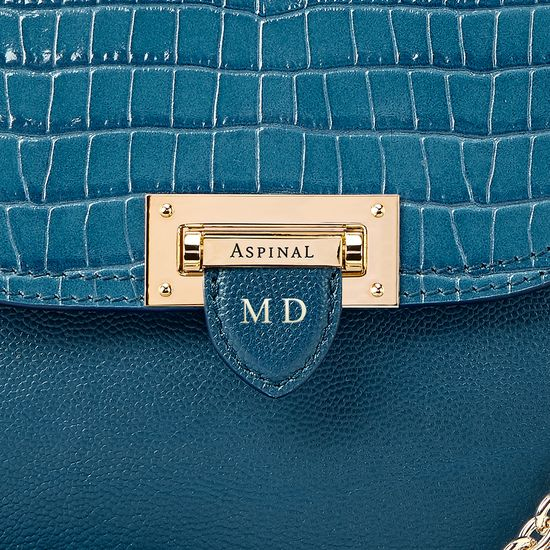 Portobello Bag in Topaz Kaviar & Deep Shine Small Croc from Aspinal of London