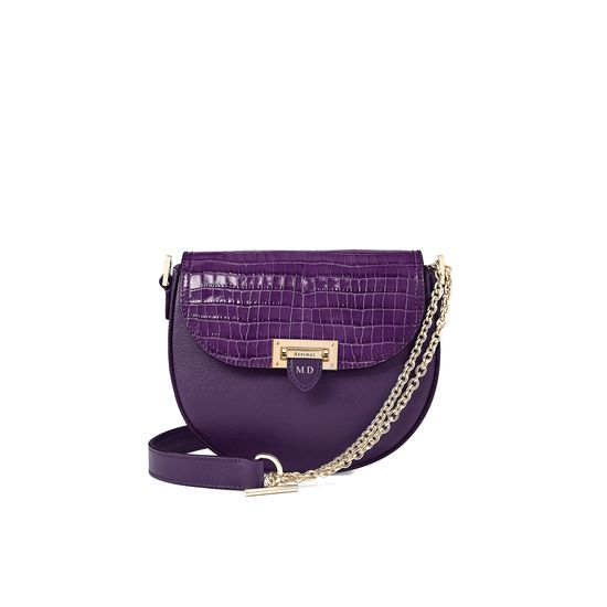 Portobello Bag in Amethyst Kaviar & Deep Shine Small Croc from Aspinal of London