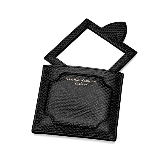 Marylebone Compact Mirror in Jet Black Lizard from Aspinal of London
