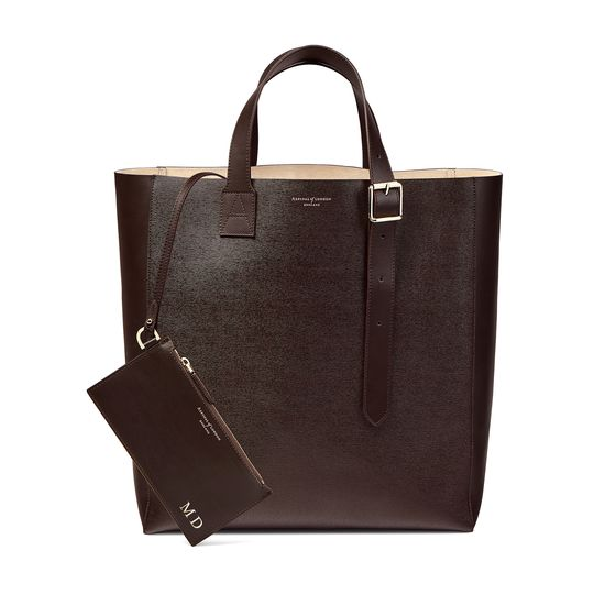 Editor's 'A' Tote in Brown Saffiano from Aspinal of London