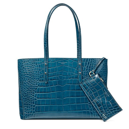 Regent Tote in Topaz Croc (with A-Stitched Side Panels) from Aspinal of London
