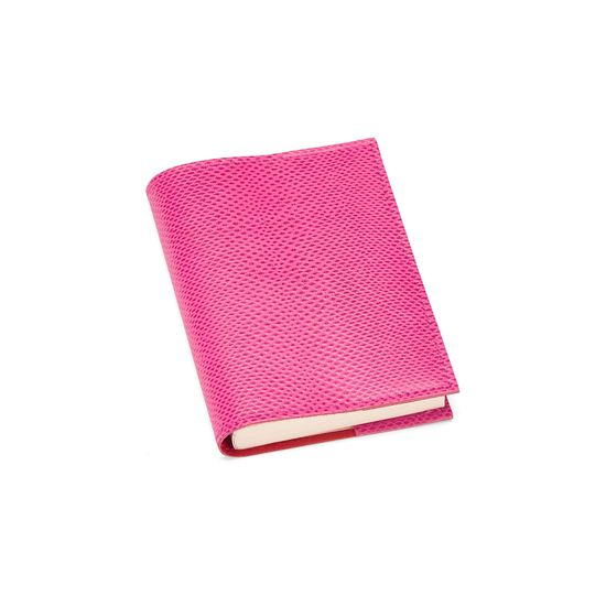 Refillable Pocket Notebook Journal in Raspberry Lizard from Aspinal of London