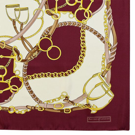 Horseshoe Silk Scarf in Burgundy from Aspinal of London