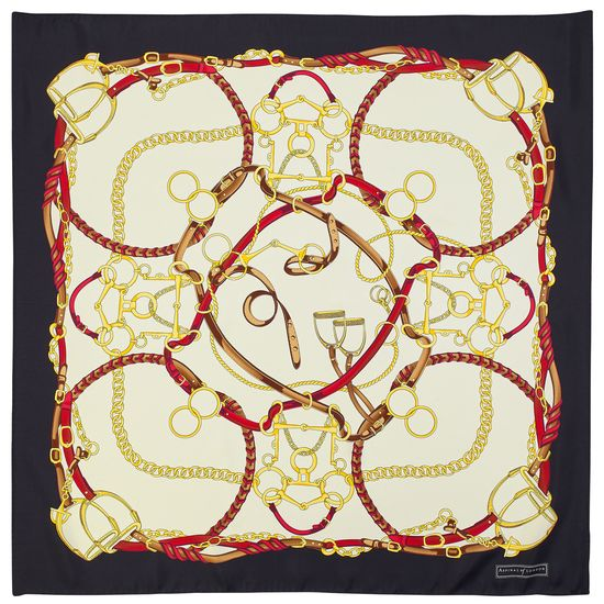 Horseshoe Silk Scarf in Black & Gold from Aspinal of London
