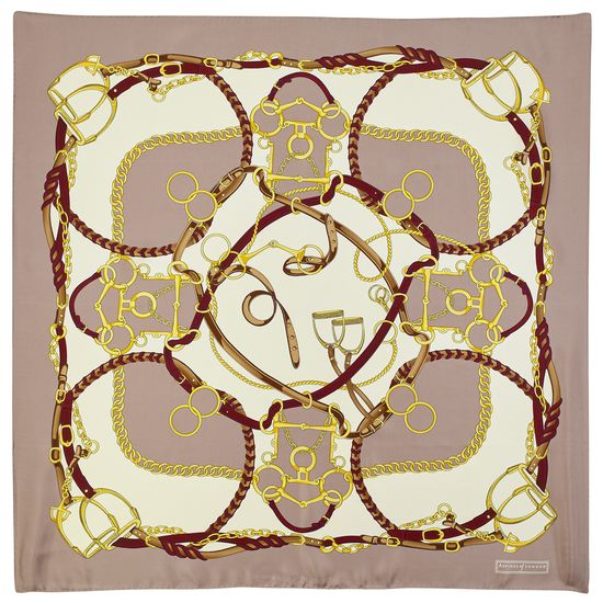 Horseshoe Silk Scarf in Soft Taupe and Gold from Aspinal of London